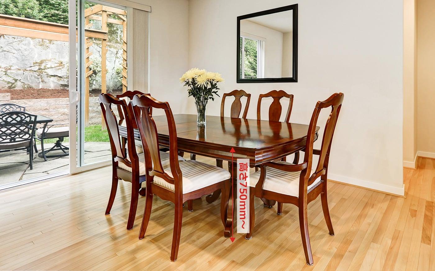 ダイニングテーブルのサイズ「高さ」で異なる過ごし方・用途の違い   a