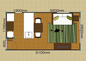 リビングダイニングルーム:1LDK 6畳 2D