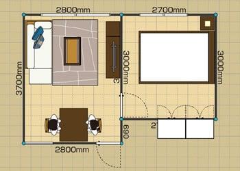 リビングダイニングルーム:1LDK 7畳 2D