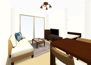 リビングダイニングルーム:1LDK 7畳 3D