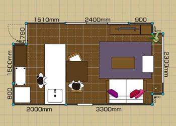 リビングダイニングルーム:1LDK 8畳-A 2D
