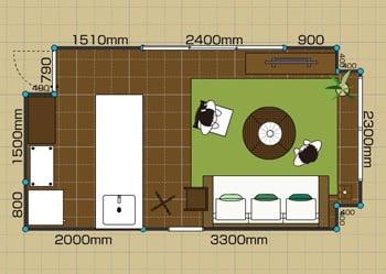 リビングダイニングルーム:1LDK 8畳-B 2D