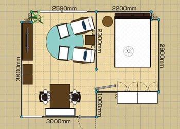 リビングダイニングルーム:1LDK 9畳 2D