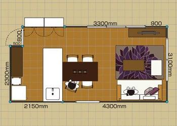 リビングダイニングルーム:2LDK 10畳-A 2D