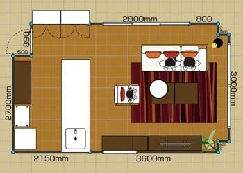 リビングダイニングルーム:2LDK 10畳-B 2D