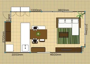 リビングダイニングルーム:2LDK 12畳-A 2D