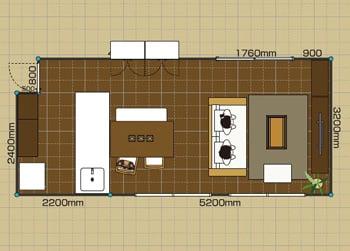 リビングダイニングルーム:2LDK 12畳-B 2D