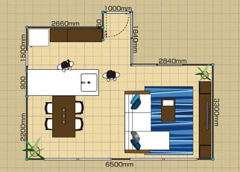 リビングダイニングルーム:2LDK 14畳 2D
