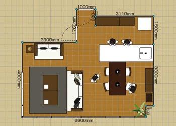 リビングダイニングルーム:3LDK 18畳 2D