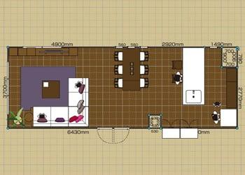 リビングダイニングルーム:3LDK 20畳-A 2D