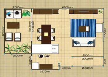 リビングダイニングルーム:3LDK 20畳-B 2D