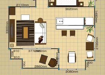 リビングダイニングルーム:1LDK 12畳 2D