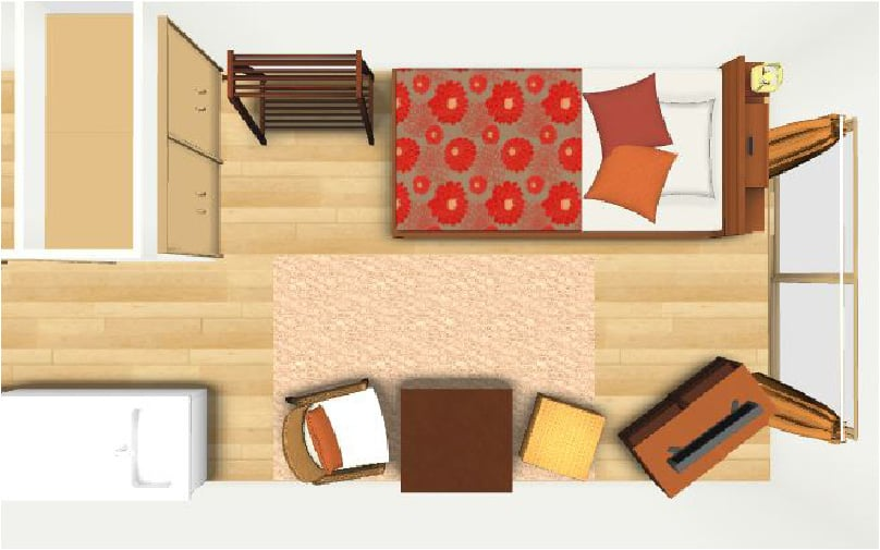 寝室のレイアウト例【6畳】