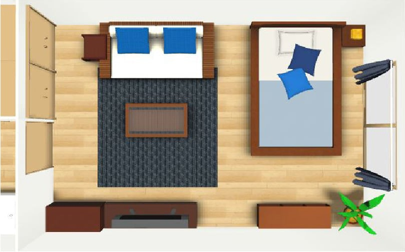 寝室のレイアウト例【12畳】