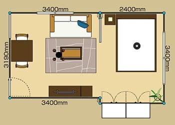 1LDK:8畳L+6畳BED 2D