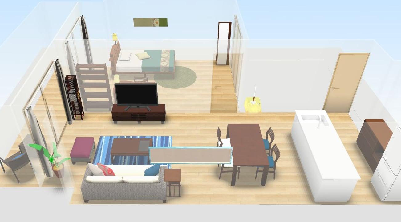 3dシミュレーション 自分で出来るインテリアコーディネートと家具配置 A Flat その暮らしに アジアの風を 目黒通り 新宿 大阪梅田 グランフロント北館