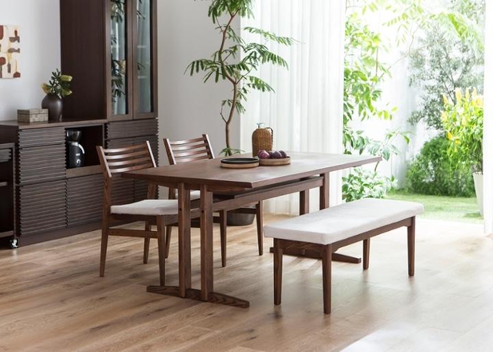 ローダイニングテーブル 1500 セット ベンチv01+椅子2脚:画像1