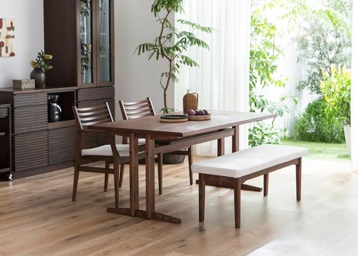 ローダイニングテーブル 1500 セット ベンチv01+椅子2脚:画像2