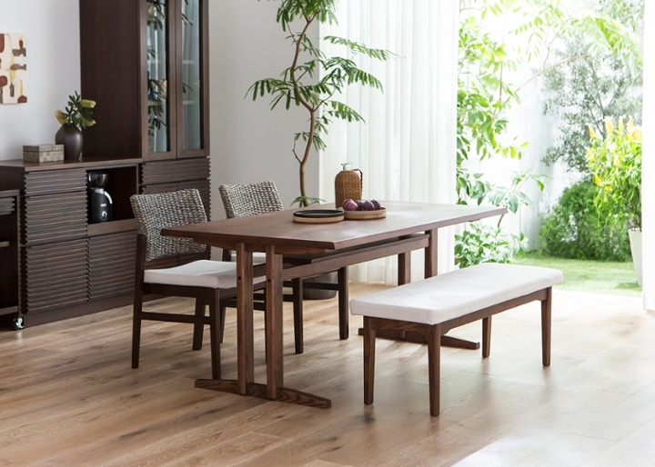 ローダイニングテーブル 1500 セット ベンチv01+椅子2脚:画像5