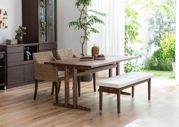 ローダイニングテーブル 1500 セット ベンチv01+椅子2脚:画像9