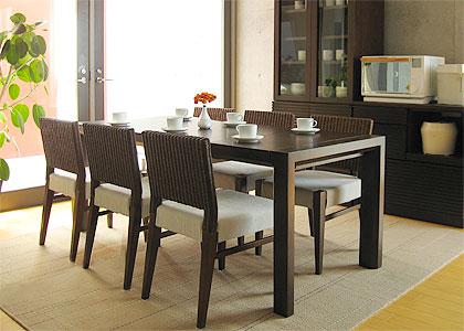 【販売終了】エクステンション・ダイニングテーブルセット(1450) 6脚:画像1