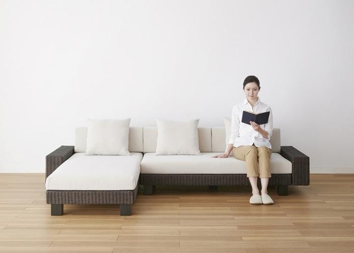 ケイ・ローソファ v02 カウチ ワイドセット (ラタン):画像32
