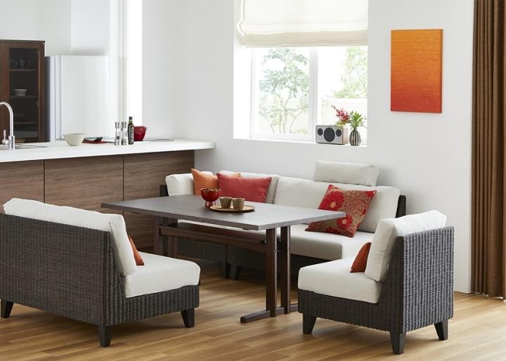モク・ソファダイニングテーブル 1500:画像2