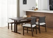 モク・ローダイニングテーブル 1500 セット ベンチv01+チェア×2