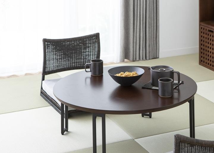 ラウンド・ローテーブルセット 座椅子2脚:画像3