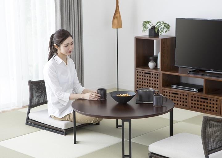 ラウンド・ローテーブルセット 座椅子2脚:画像4