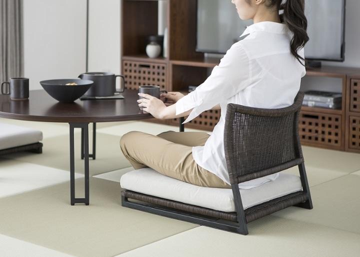 ラウンド・ローテーブルセット 座椅子2脚:画像5