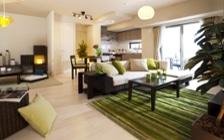 爽やかなグリーンカラーで癒し空間を実現したモデルルームのインテリア実例