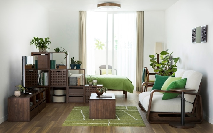 No.144 一人暮らし・ワンルーム(12畳) ~間仕切りでワンルームを二つに分けたヴィラ風リゾート空間~:画像1